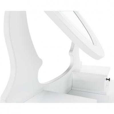 Măsuţă de toaletă cu taburet, albă/argintie, LINET New3