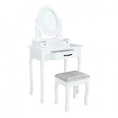 Măsuţă de toaletă cu taburet, albă/argintie, LINET New0