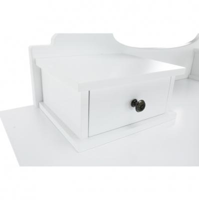 Măsuţă de toaletă cu taburet, albă/argintie, LINET New4