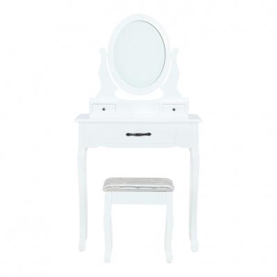Măsuţă de toaletă cu taburet, albă/argintie, LINET New1