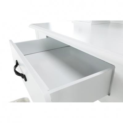 Măsuţă de toaletă cu taburet, albă/argintie, LINET New5