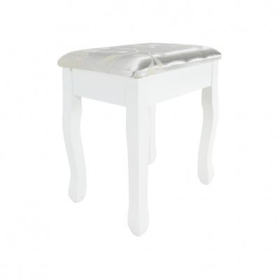 Măsuţă de toaletă cu taburet, albă/argintie, LINET New2