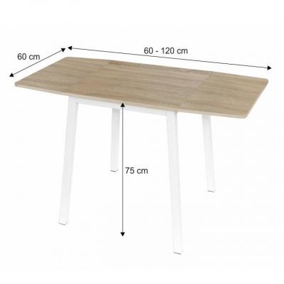 Masă dining, MDF placat/metal, stejar sonoma/alb, MAURO1