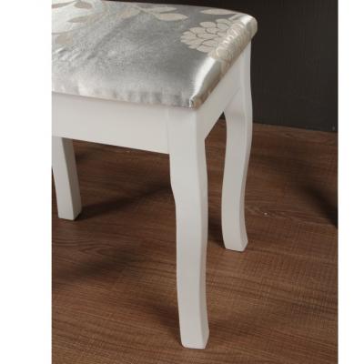 Masa toaleta cu taburet si oglinda, MDF alb cu lemn masiv, model Regina2