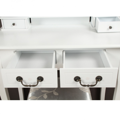 Masa toaleta cu taburet si oglinda, MDF alb cu lemn masiv, model Regina3