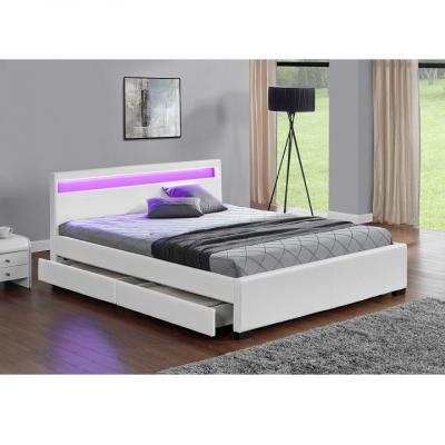 Pat matrimonial cu RGB LED iluminare, piele ecologică albă, 180x200, CLARETA1