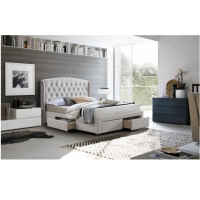 Pat matrimonial cu spaţiu de depozitare, material textil crem, 180x200, AKANA2