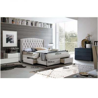 Pat matrimonial cu spaţiu de depozitare, material textil crem, 180x200, AKANA1