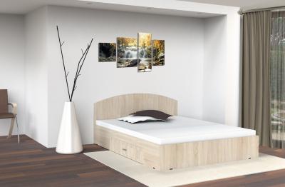 Pat mijloc cu sertar, 140 x 200 cm , stejar sonoma1