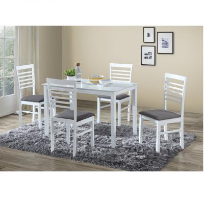Set masa cu scaune dining, MDF alb/material textil gri, BRISBO 1+41