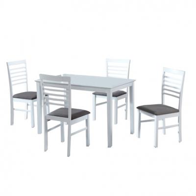 Set masa cu scaune dining, MDF alb/material textil gri, BRISBO 1+40