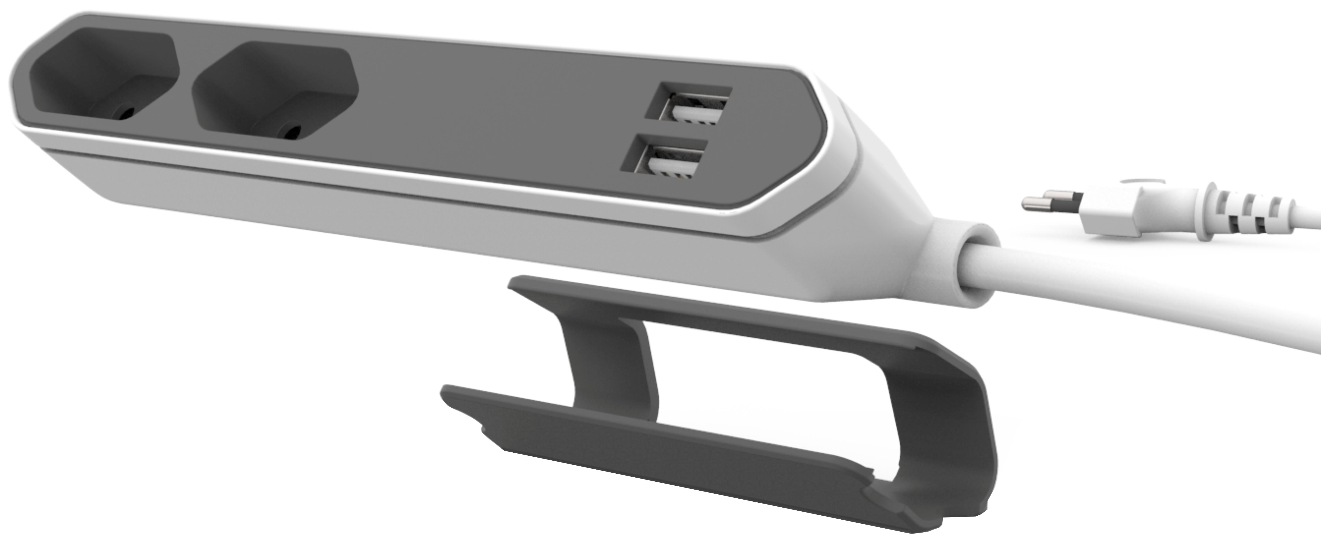 Prelungitor 2 prize EU+ 2 USB, 2.1A, 1.5m, PowerBar, Allocacoc [0]