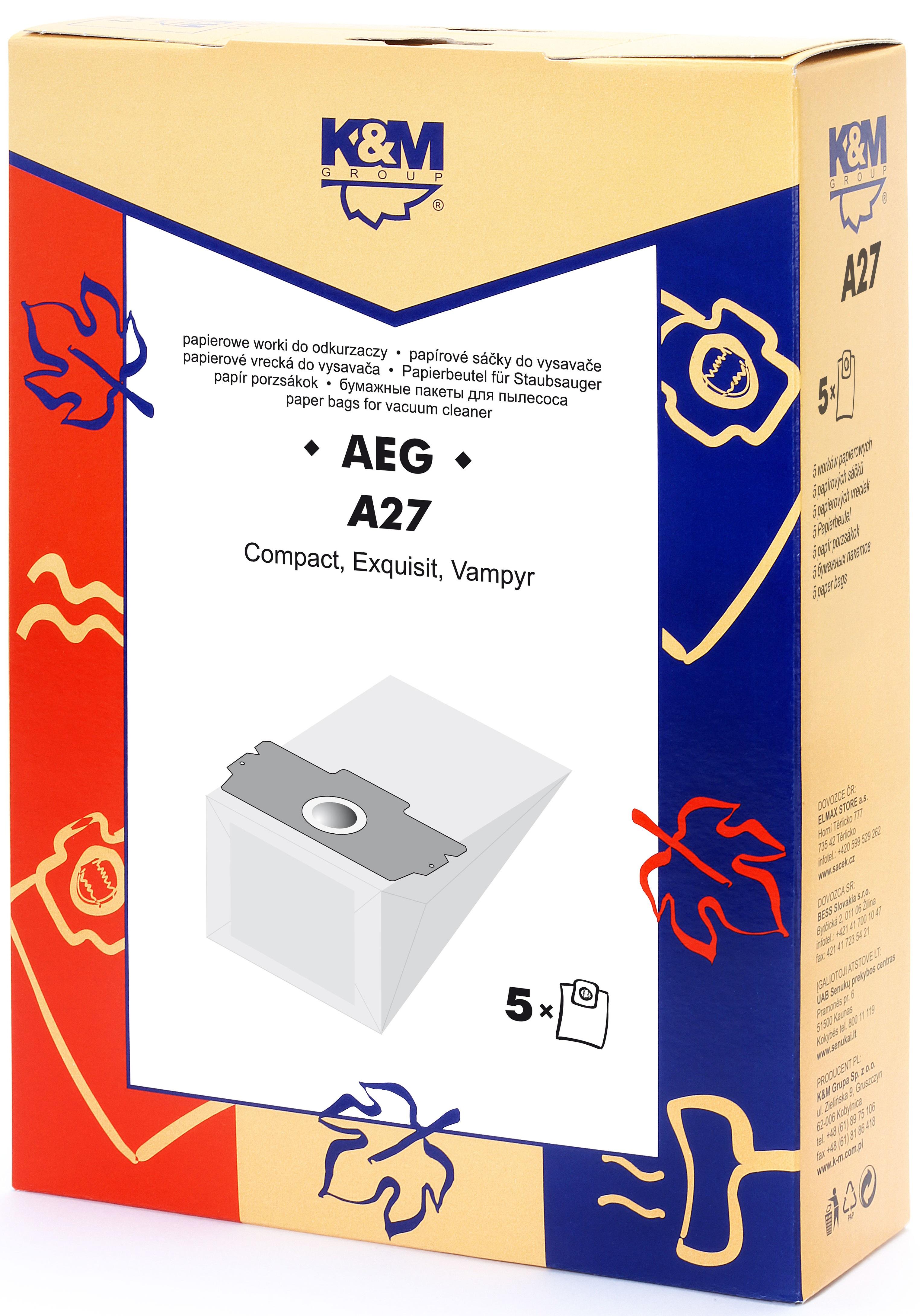 Sac aspirator AEG GR. 11,13, hartie, 5 x saci, K&M 0