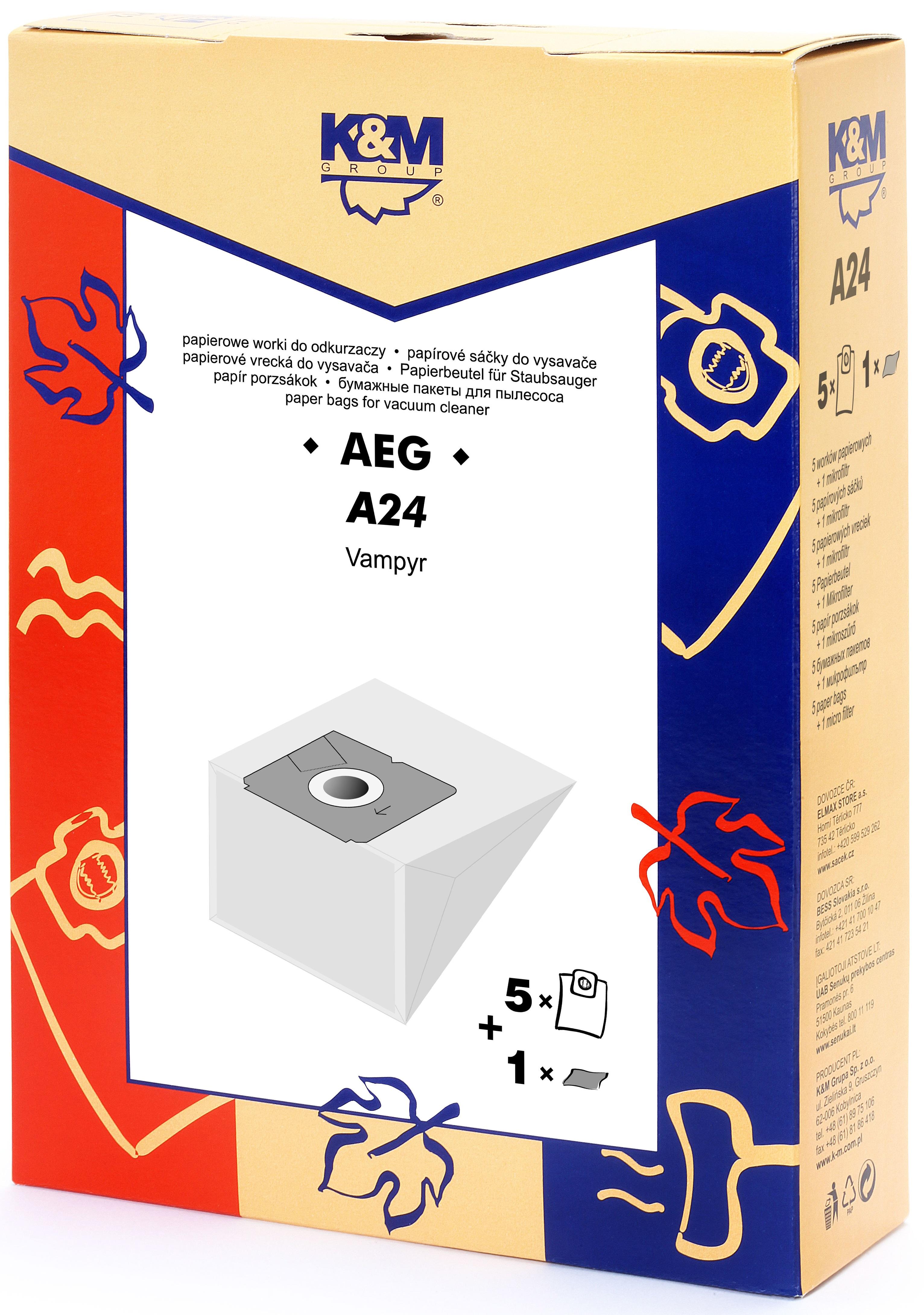 Sac aspirator AEG GR 28, hartie, 5 saci + 1 filtru, K&M [0]