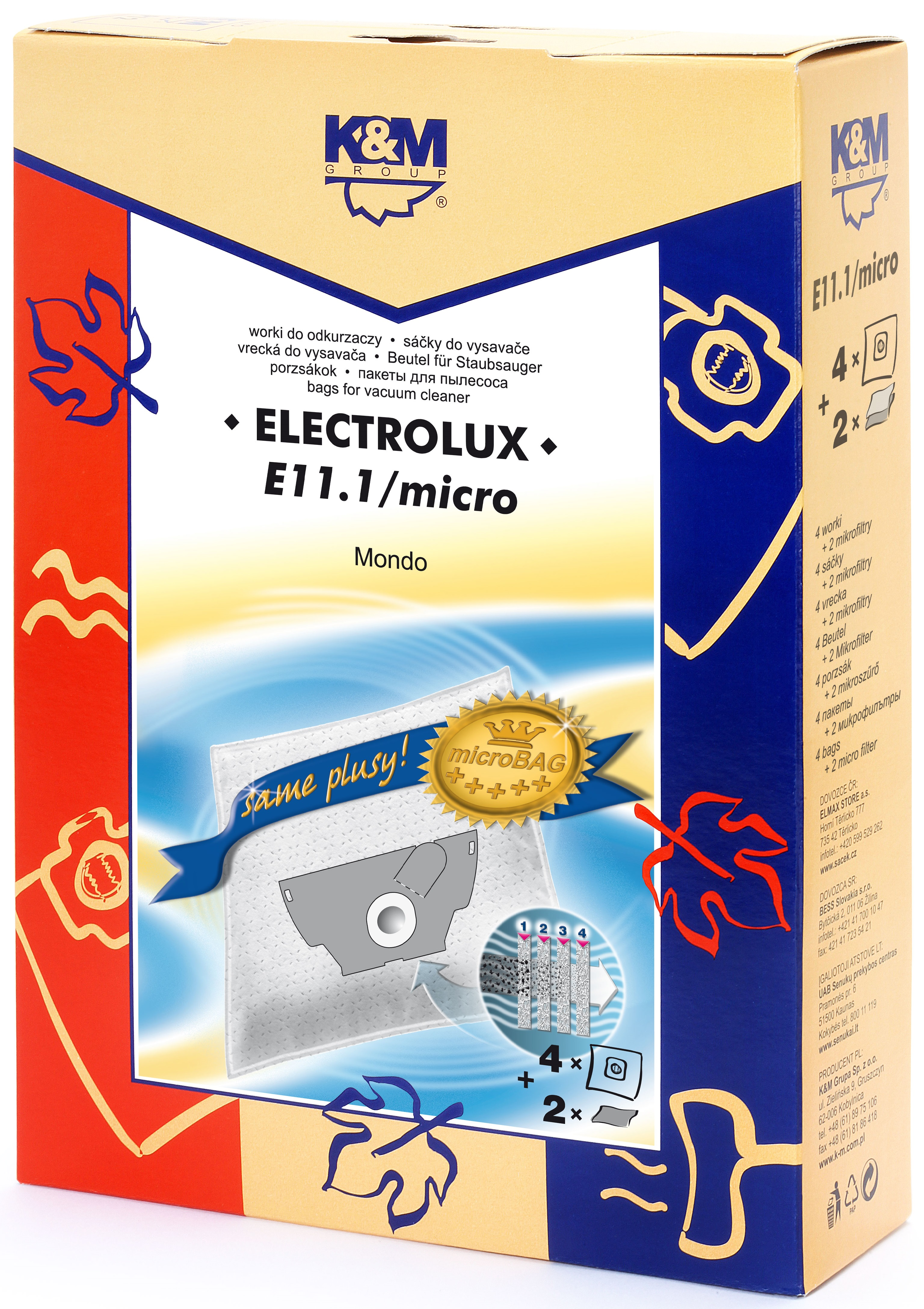 Sac aspirator Electrolux Mondo, sintetic, 4X saci + 2 filtre, K&M 0