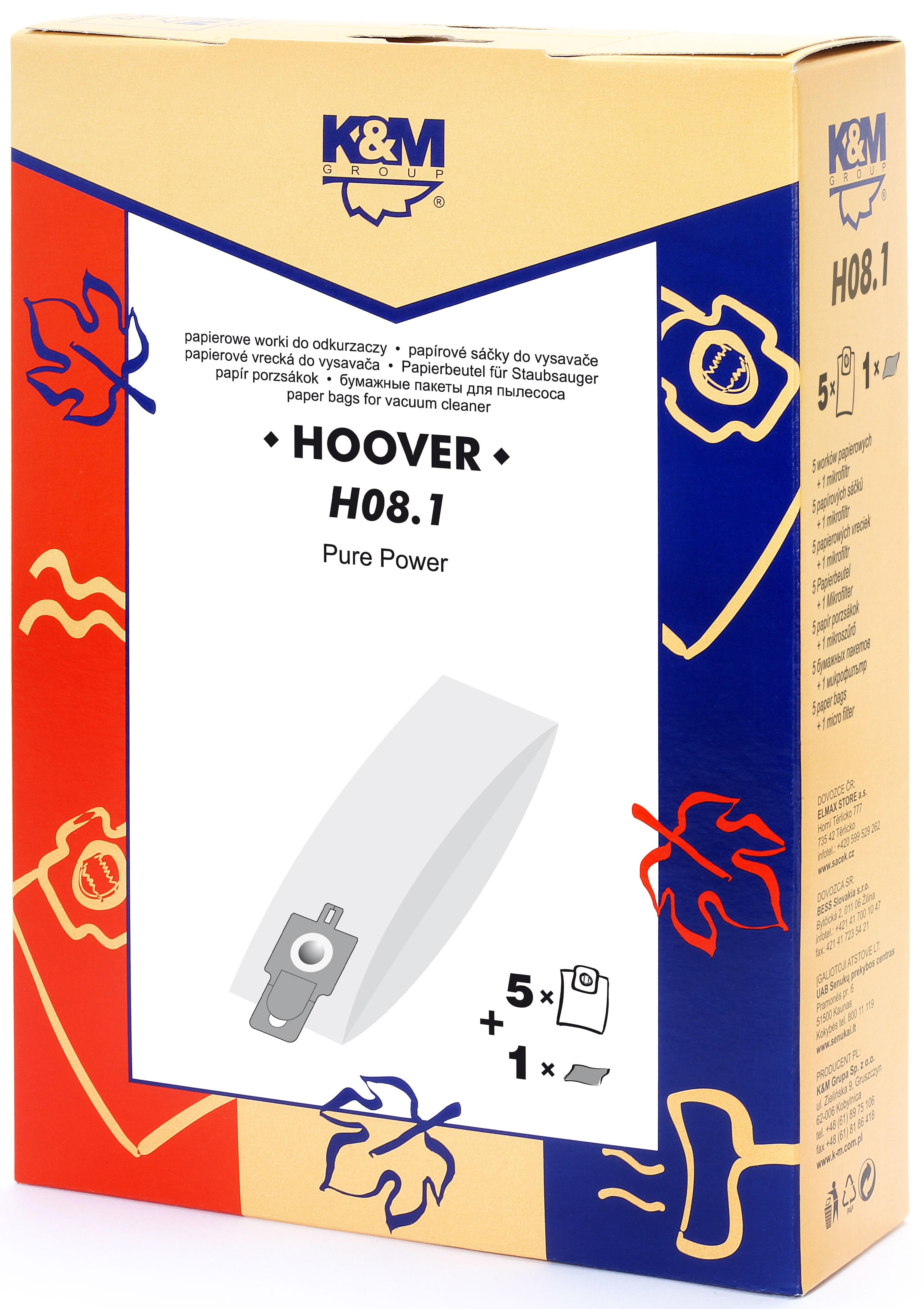 Sac aspirator Hoover H20, H20A, hartie, 5X saci, K&M 0
