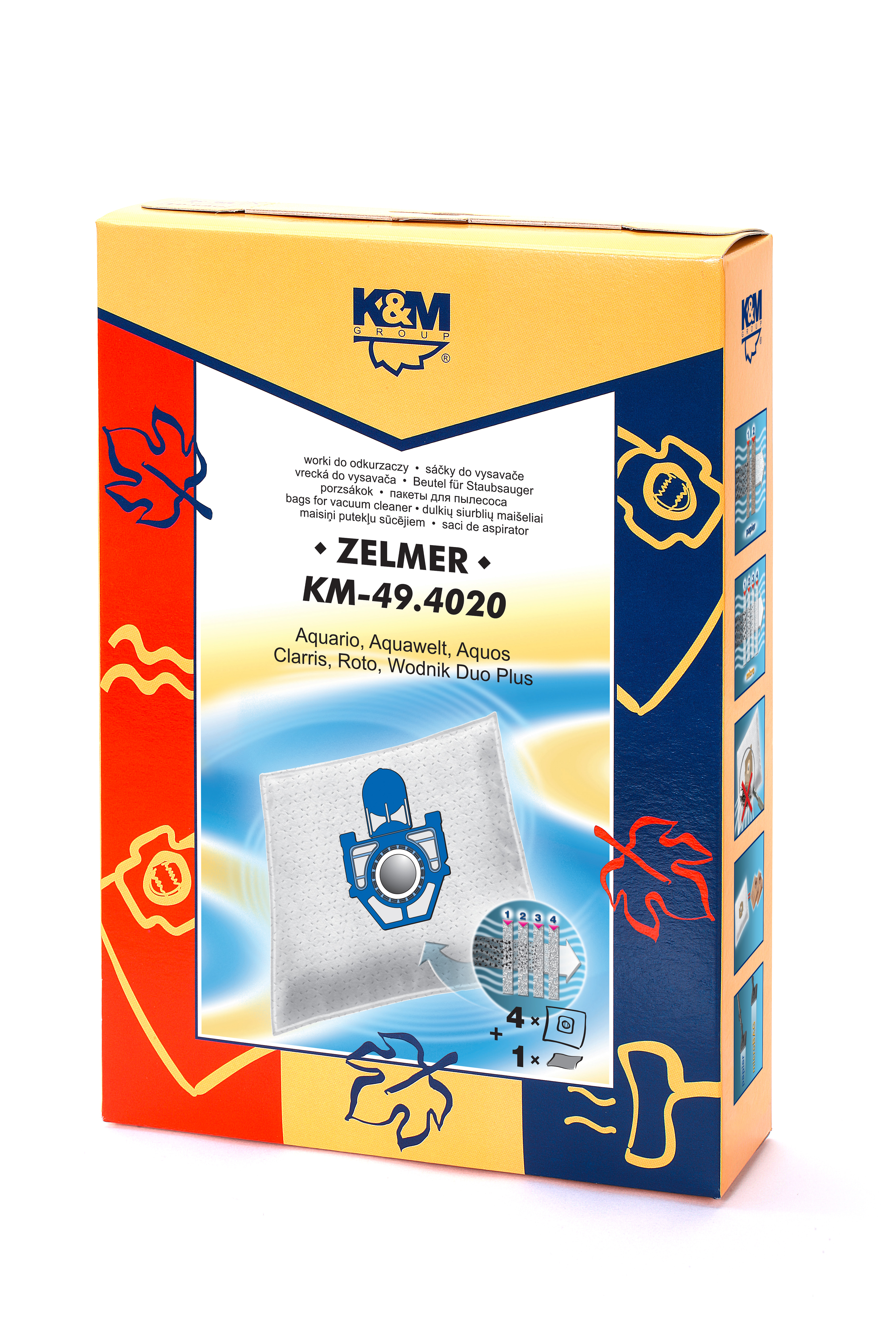 Sac aspirator pentru Zelmer, sintetic, 4 saci + 1 filtru, K&M 0
