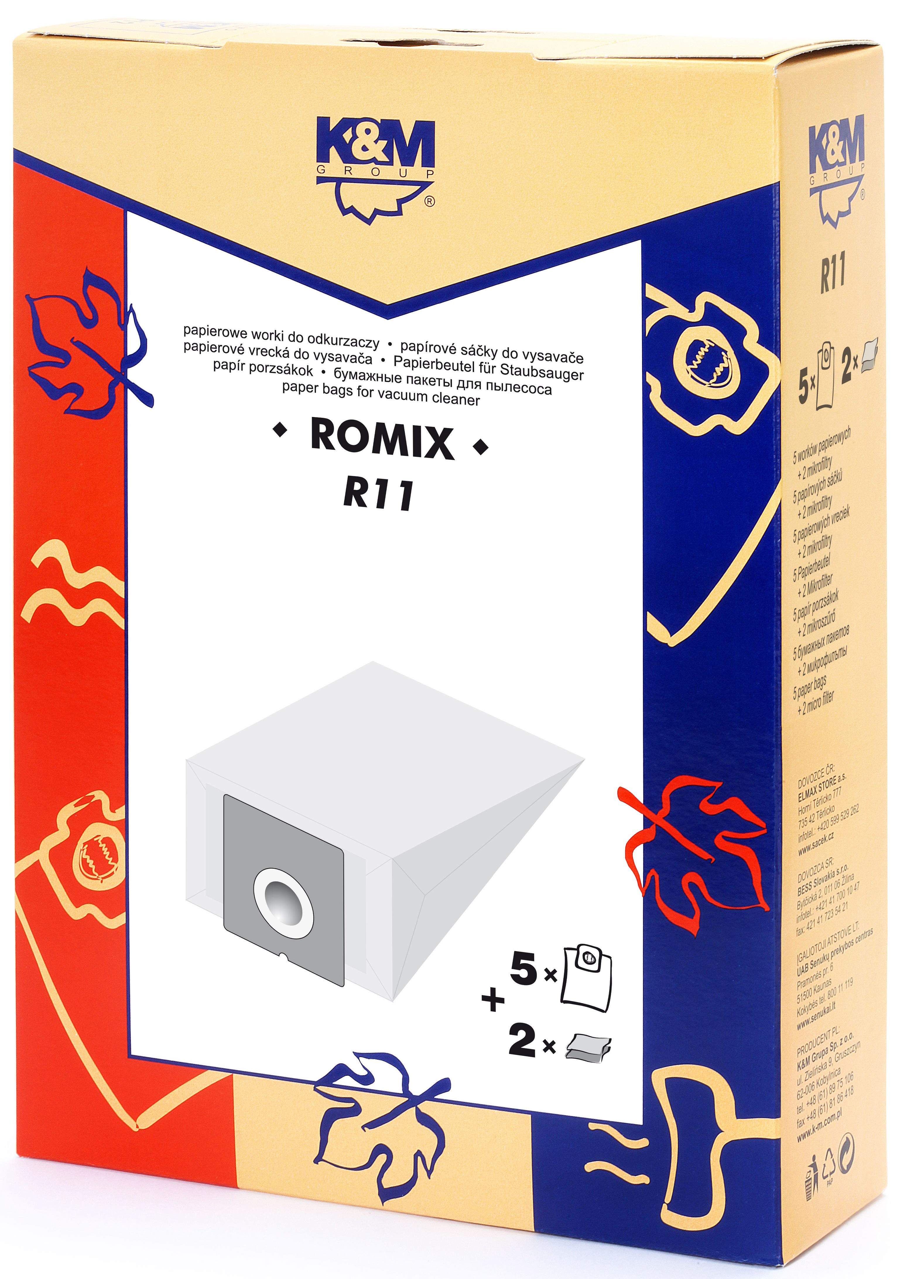 Sac aspirator Romix OC 12 WORKI, hartie, 5X saci + 2X filtre, K&M 0
