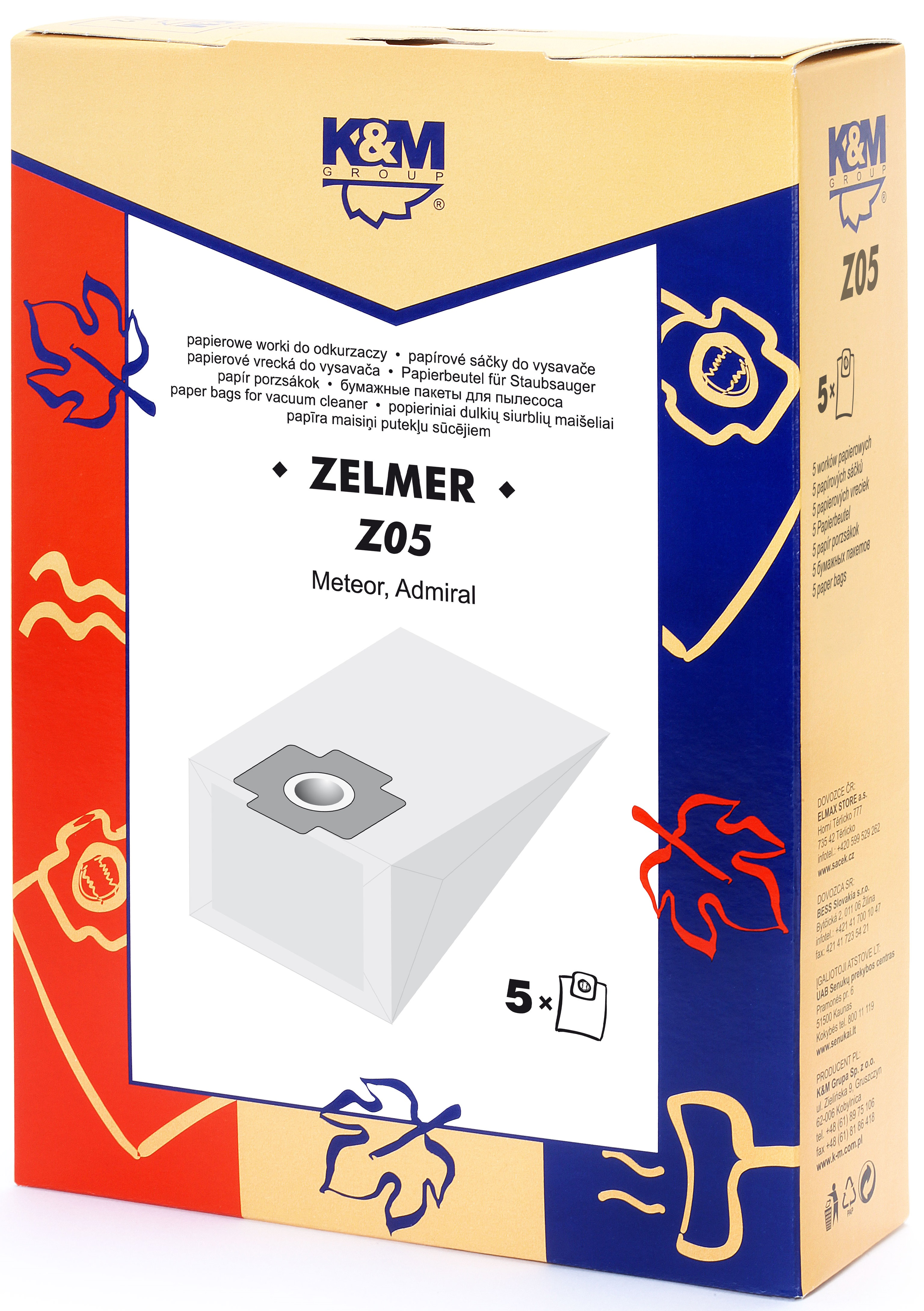 Sac aspirator Zelmer 1010, hartie, 5X saci, K&M 0
