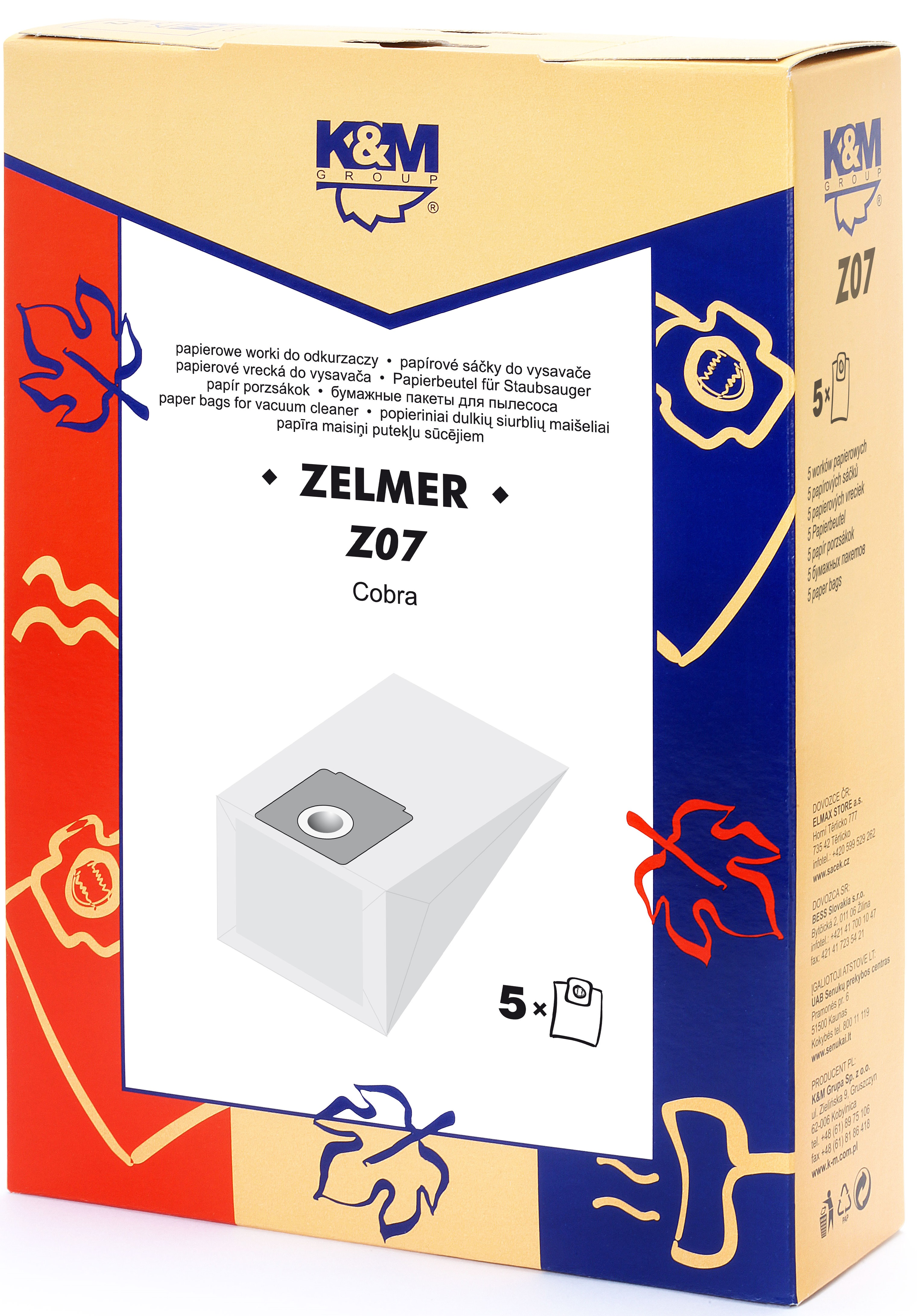 Sac aspirator Zelmer 2000, hartie, 5X saci, K&M 0