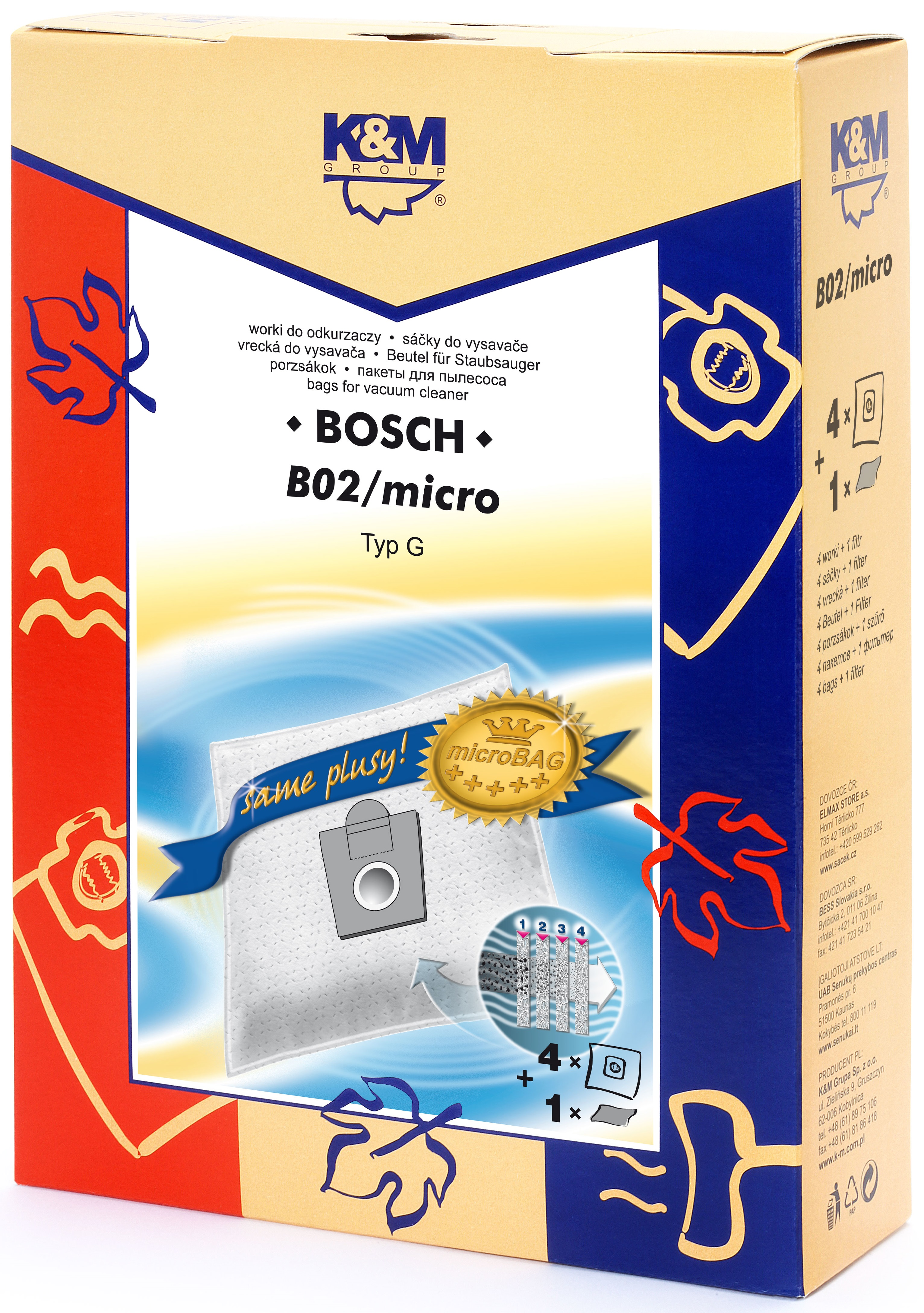 Sac aspirator pentru Bosch/Siemens typ E,D,G, sintetic, 4 saci + 1 filtru, K&M 0