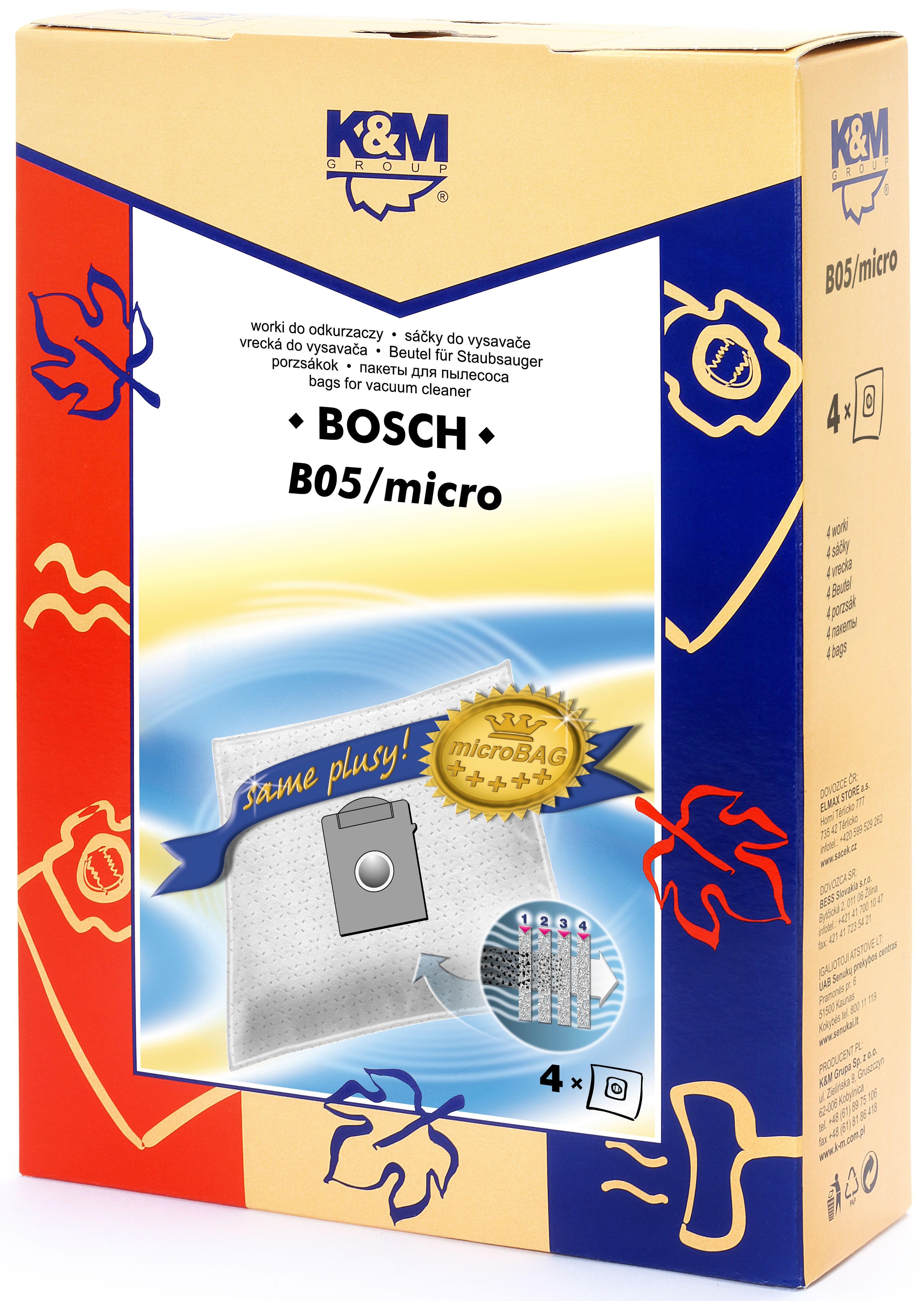 Sac aspirator pentru Bosch/Siemens typ K, sintetic, 4 X saci, K&M [0]