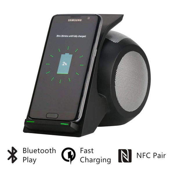 Incarcator Wireless Rapid (Fast Charger ) Universal cu Boxa si Suport de Incarcare Wireless 2