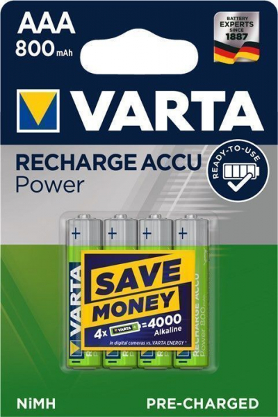 Acumulator R3 (AAA) 800mAh Ready2Use 4buc/blister Varta [0]