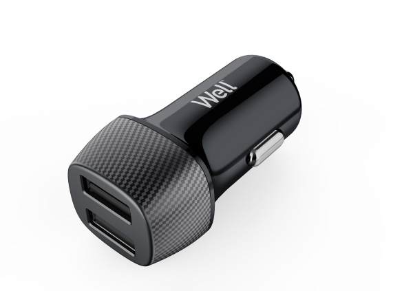 Alimentator USB bricheta auto 2 iesiri 2.4A negru Well [0]