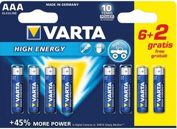 Baterie alcalina R3 (AAA) 8 buc/blister High Energy Varta [0]