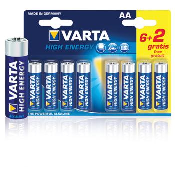 Baterie alcalina R6 (AA) 8 buc/blister High Energy Varta 0