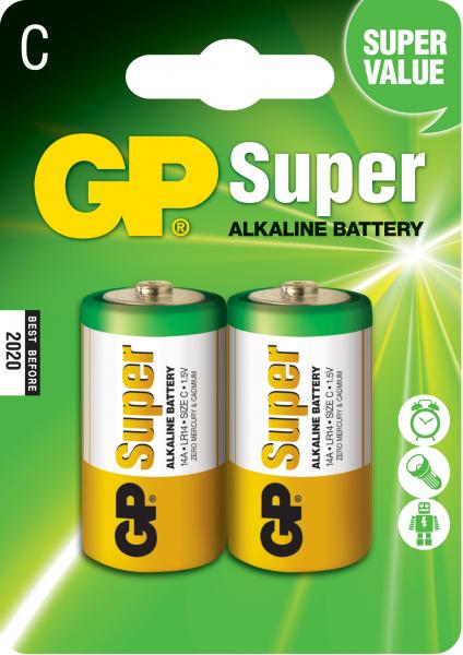 Baterie alcalina Super GP R14 (C) 2 buc/blister 0