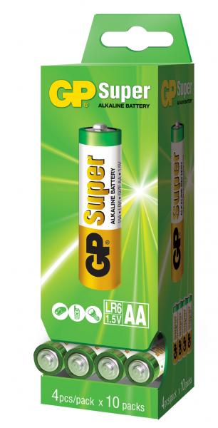 Baterie alcalina Super R6 (AA) GP dispensor 4x10buc 0