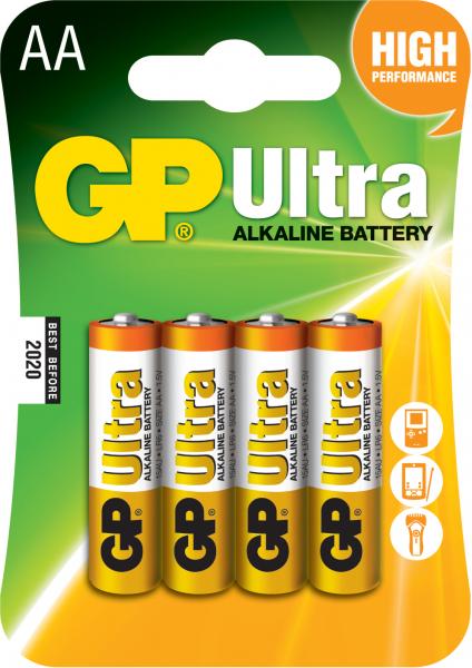 Baterie alcalina Ultra GP R6 (AA) 4 buc/blister 0