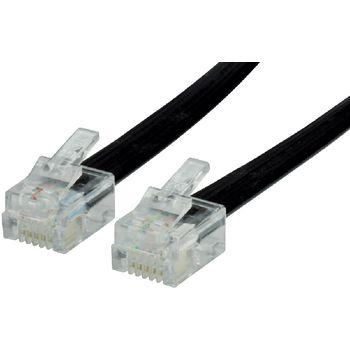 Cablu telefon plat RJ12 (6P6C) Tata - RJ12 (6P6C) Tata 3.00m negru, Valueline 0