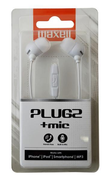 Casca in ureche 3.5mm alb cu microfon Plugz Maxell [0]