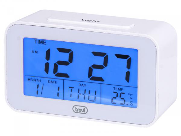 Ceas desteptator cu LCD SLD 3P50, termometru, calendar, alb, Trevi 0
