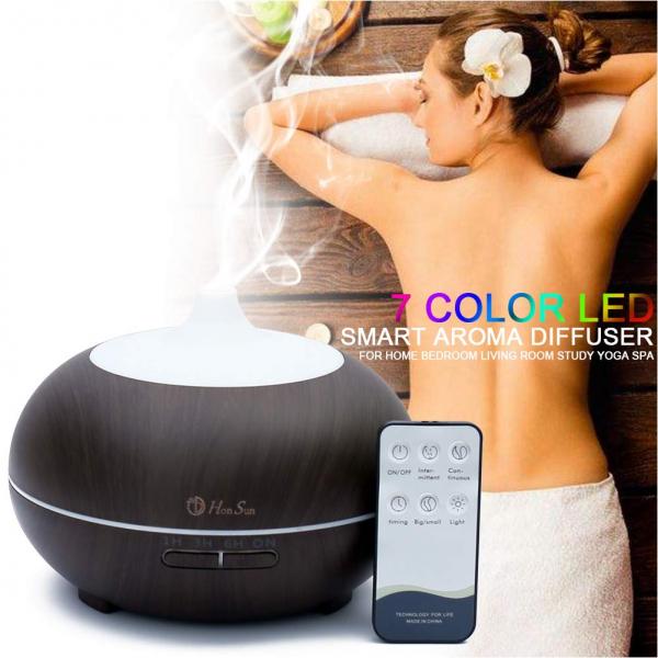Difuzor uleiuri esentiale, umidificator aromaterapie, ultrasunete cu telecomanda 300 ml, mahon 2