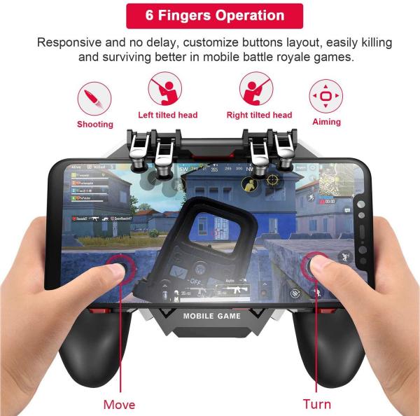 GamePad Telefon Mobil Controler Sase Degete cu Ventilator, PUBG AK-77 [4]