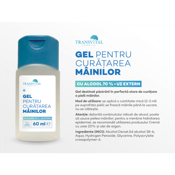 Gel Dezinfectant Antibacterian Transivtal cu 70% Alcool 60ml 1
