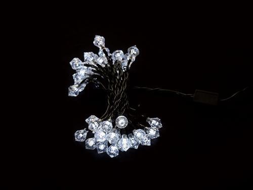 Ghirlanda luminoasa decorativa forma diamant 40 LED-uri albe lumina rece culoare cablu verde WELL 0