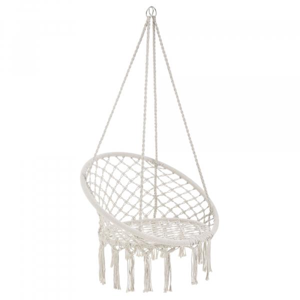 Hamac scaun ABLS-6003, 140 cm, otel/bumbac/poliester, crem 0