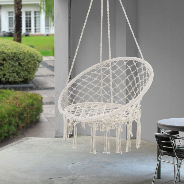 Hamac scaun ABLS-6003, 140 cm, otel/bumbac/poliester, crem 1