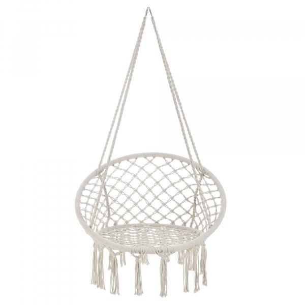 Hamac scaun ABLS-6003, 140 cm, otel/bumbac/poliester, crem 6