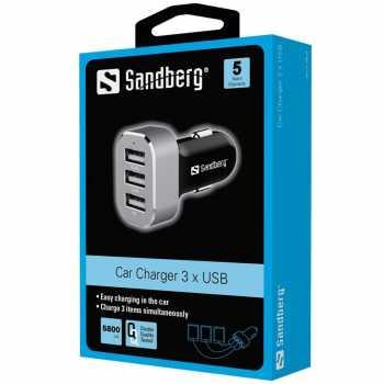 Incarcator auto Sandberg 440-79, 3xUSB, argintiu [1]