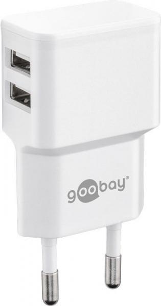 Incarcator de retea dual USB 2.4 A alb Goobay 0