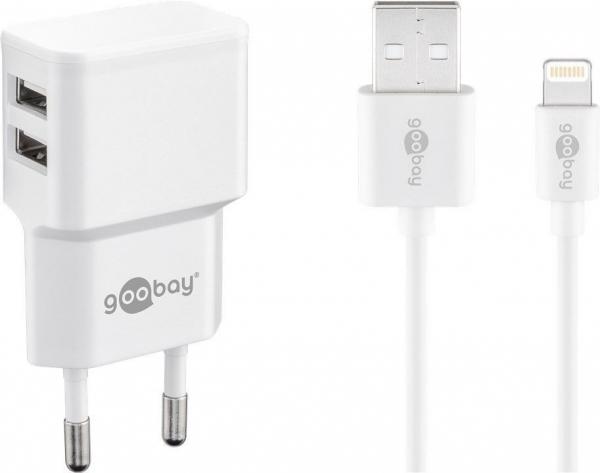 Incarcator de retea dual usb cu cablu lightning 2.4A, alb Goobay 0
