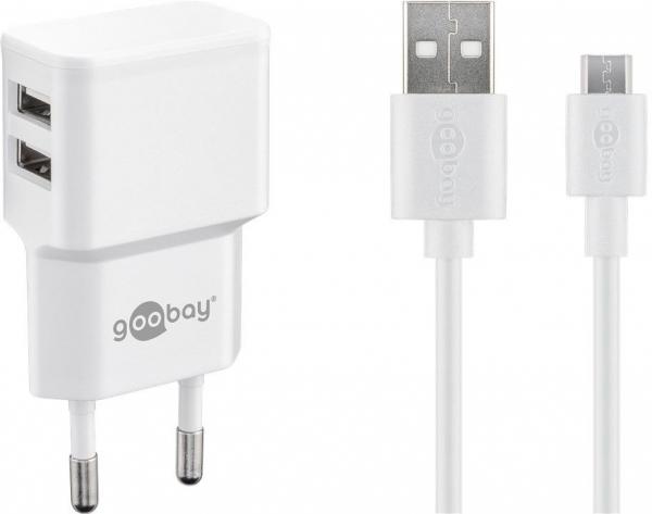 Incarcator de retea dual usb cu cablu micro usb 2.4A, alb Goobay 0