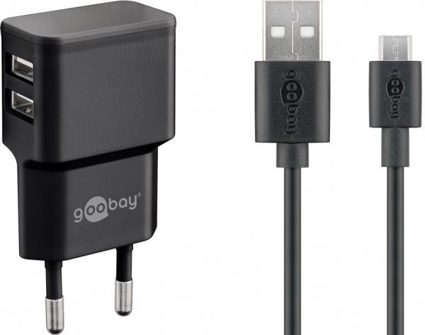 Incarcator de retea dual usb cu cablu micro usb 2.4A, negru Goobay [0]