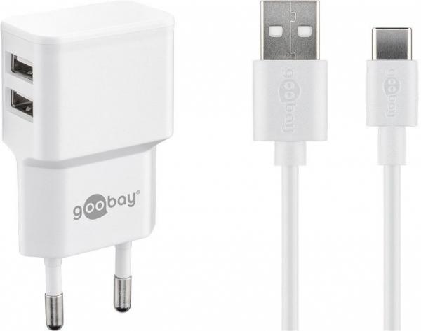 Incarcator de retea dual USB cu cablu tip-C 2.4A, alb Goobay [0]